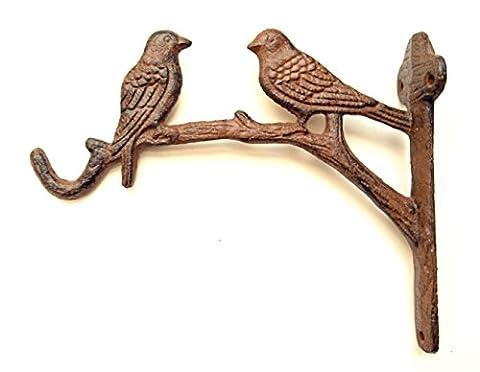Cast Iron Ornate Two Birds On The Tree Hanging Flower Basket Bracket Hook (Antique Brown)