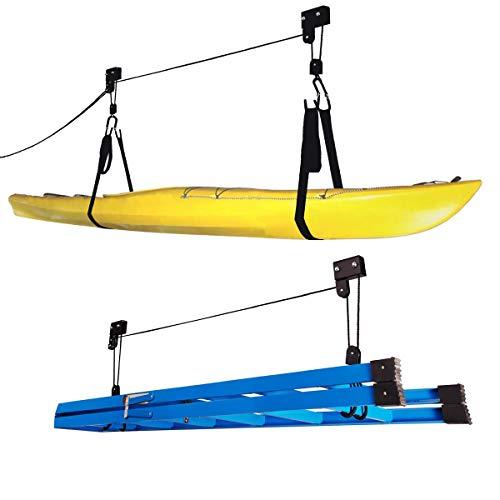 Rad Sportz montacargas Kayak (2unidades) calidad garaje almacenamiento canoa Lift con 125LB capacidad incluso funciona como escalera ascensor Premium calidad sistema de poleas