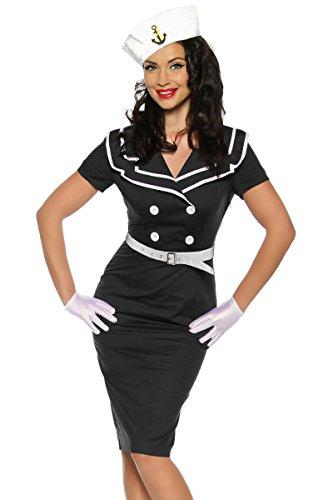 50er Jahre Rockabilly Matrosen Pencilkleid Pin-Up Kleid mit Gürtel A12634, Größe:42;Farbe:schwarz -
