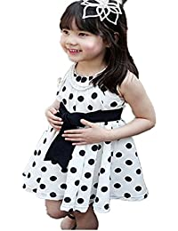 Longra Enfants Filles Robe Polka Dot Girl Robe de Soirée en Mousseline
