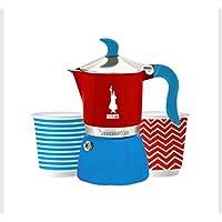 Bialetti - 0006280 - Coffret cafetière italienne 3 tasses pop bleu/rouge + 2 tasses fiammetta