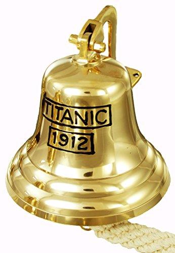 Buckingham Titanic 1912Gravur Wand montierbar massivem Messing Pub/Tür/letzten Bestellungen/Schiff Glocke, Gold, 20cm Buckingham Bell