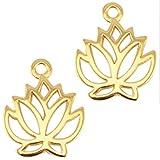 Sadingo DQ Metallanhänger Lotusblume - 1 Stück - 19 mm - Zamak, vergoldet bzw. versilbert - Farbe wählbar, Farbe:Gold