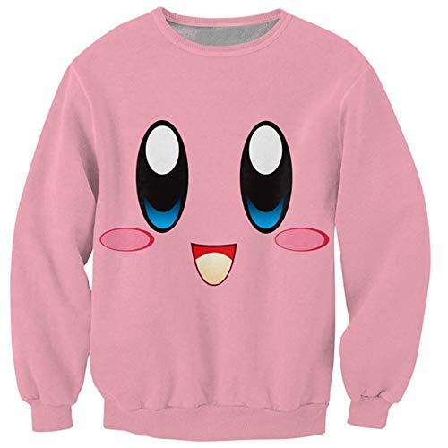DAXIAL Sweatshirt Männer Sweatshirt Runder Kragen Chubby Pink Charakter Drucken Men's Cute Smile Pullover Sportswear, XXL -