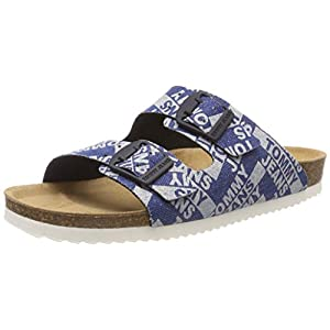 Hilfiger Denim Damen Allover Denim Print Flat Sandal Zehentrenner