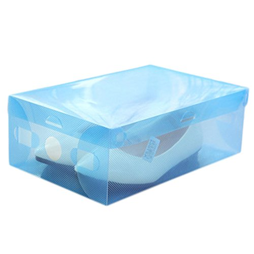 oyfel Rangement de zapato cajas de almacenamiento de caja de zapatos organizador cajón armario estantería modulable DIY plástico transparente apilable plegable para garaje dormitorio salón 1pcs, azul, 1