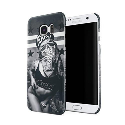 Addict Sexy Nude Girl with Skull Bandana Swag Yolo Dünne Rückschale aus Hartplastik für Samsung Galaxy S7 Edge Handy Hülle Schutzhülle Slim Fit Case Cover -