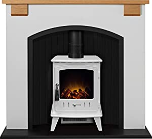 Adam Vermont Stove Suite in Cream with Aviemore Electric Stove in Pure White, 48 Inch