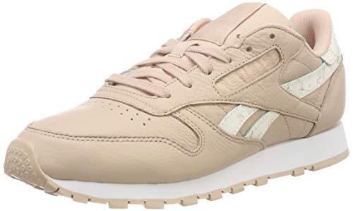 Classic Running Sneakers (Reebok Damen Classic Leather Fitnessschuhe, Mehrfarbig (Sidestripes/Bare Beige/White 000), 37 EU)