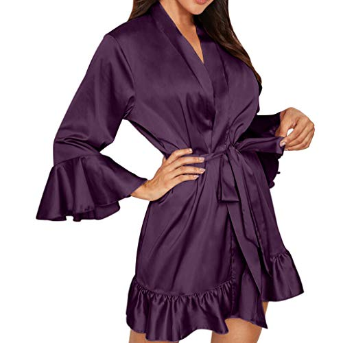 Cardith Damen SexyPyjamas mit RüschenärmelnSpitzen Dessous Nachtwäsche Unterwäsche Nachtwäsche