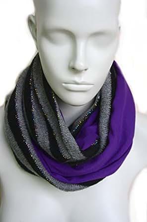 mySchal Gerda: Schlauchschal Damen in grau & lila aus Wolle