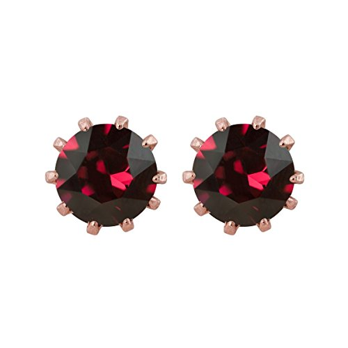 Princess Boucles d'oreilles plaqué or rosé avec 6mm–Cristal Swarovski rubis