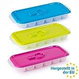 2friends GmbH Eiswürfelform mit Deckel, praktischer Einfüllöffnung und Standfüssen, 3er Set, für je 18 Eiswürfel, Made in EU, 100% recyclebar