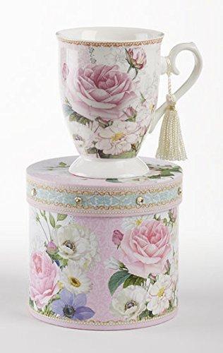Delton Products Pink Rose Floral Porcelain Mug in Matching Keepsake Box (Porcelain Floral Box)