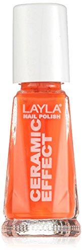 Layla cosmetics 1243r23-109 smalto, effetto ceramica, tonalità 109 orange fluo