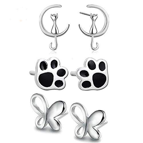 Lanaso Katze Ohrringe Hund Pfote Ohrringe Schmetterling Ohrringe Ohrstecker Pfoten Ohrringe Silber Stecker Katze Ohrstecker Ohrringe