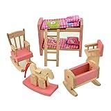 wdyjmall Holz Puppenhaus Möbel Set Spielzeug für Baby Kinder Kinder–Etagenbett Schaukelpferd Stuhl Kinderbett Kinder Schlafzimmer