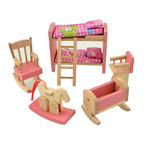 wdyjmall Holz Puppenhaus Möbel Set Spielzeug für Baby Kinder Kinder–Etagenbett Schaukelpferd Stuhl Kinderbett Kinder Schlafzimmer (Kinder Schlafzimmer Möbel-sets)