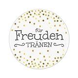 KuschelICH 100 Sticker für Freudentränen | wunderschöne Hochzeit Aufkleber | Ø 5 cm Premium-Strukturpapier | golden glänzende Punkte (100 STK., Freudentränen)