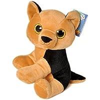 """MY LITTLE DOG - Perro de peluche marron y negro con los ojos brillantes 11""""/30cm - Calidad super soft"""