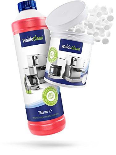WoldoClean 750ml Entkalker und 40x Reinigungstabletten Reinigungsset Pflegeset für Kaffeevollautomaten Vollautomat