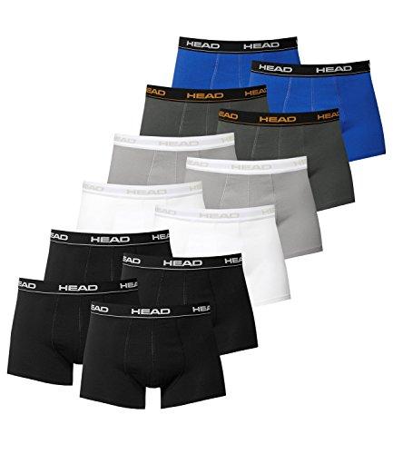 Preisvergleich Produktbild HEAD Herren Boxershorts 841001001 12er Pack (4x Schwarz / 2x Weiß / 2x Grey / 2x Dark Shadow / 2x Blue / Black,  L = Gr. 6 = 12 Stück)