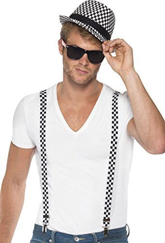 Ska Two Tone Instant Costume Kit with Braces and Hat. A quick and easy, cost-effective 80s look. Add some cheap wayfarer-style sunglasses.