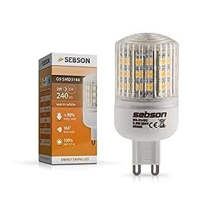 SEBSON Ampoules LED 3W (remplace 25W) - Culot G9 - Angle du faisceau 160° - Blanc chaud - 240lm