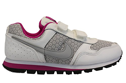 Nike Md Runner (Psv), Chaussures de Course Fille Blanco (White / Wolf Grey-Fuchsia Flash)