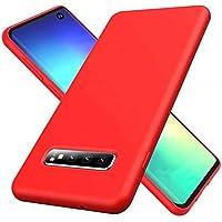 Ttimao Compatible con Funda Samsung Galaxy S10 Plus Silicona Líquida Gel Cubierta+1*Protector de Pantalla Anti-Shock Funda Protectora con Cojín de Forro de Tela de Microfibra Suave-Rojo