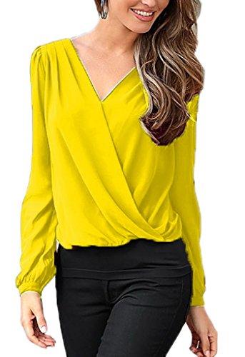 Bigood Femme T-shirt Chiffon V Col Blouse OL Dos Dentelle Chemise Slim Uni Jaune
