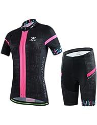 Gwell Ensemble Maillot de Cyclisme Set pour Femme Ladies Vélo VTT VTC Manches Courtes + Pantalons avec Coussin d'assise 3D