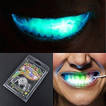 Tradico® 1 Pc Led Light up Flashing Mouth Piece Glow Teeth for Halloween Party Rave Event