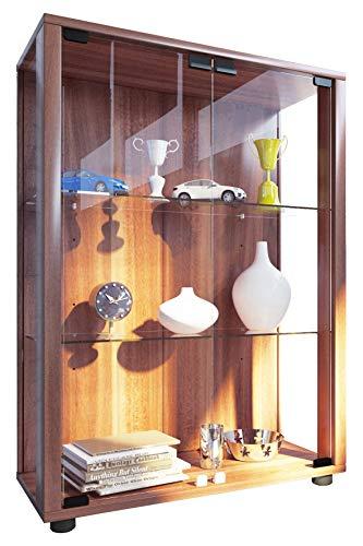VCM 911995 Sintalo Vetrinetta indipendente senza illuminazione, Replica di legno / Vetro ESG, Cuore di noce