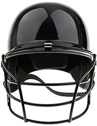 Adultos Pro Moldeado Casco De Bateo De Béisbol Con Protección Para La Cara De Metal - Negro