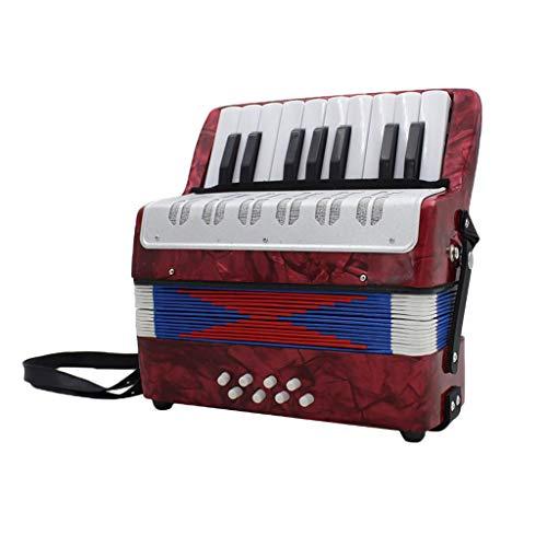 B Blesiya 17 Noten Tasten Kinder Akkordeon Ziehharmonika Musikinstrument (mit Aufbewahrungstasche und Gurt) - Rot