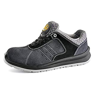 SAFETOE Comfort Wide Fit Safety Shoes - 7331 Man Light Weight Safety Trainers with Composite Plastic Toe Cap, Metal Free Women Size Work Shoes Boots with Breathable Leather Gray 7 UK