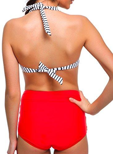 Angerella Damen Retro Stil Bademode Polka-Punkt mit hoher Taille Bikini Set Badeanzug (BKI033-R1-2XL) - 3