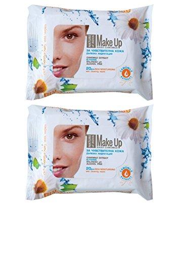 Nature of Agiva Makeup Reinigungstücher mit Kamillenextrakt für Empfindliche Haut Ohne Alkohol 2 x 20 Stück -