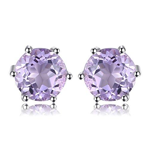 JewelryPalace Runde 0.9ct Natürliche Amethyst Ohrstecker Solid 925 Sterling Silber
