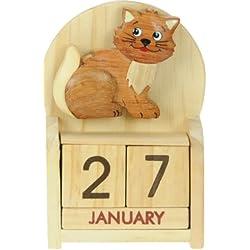 Gato : Hechos a mano calendario perpetuo de madera. Diversión peculiar de Navidad o idea del regalo de cumpleaños. Presente Comercio Justo (tamaño 10,5 x 7 x 3,5 cm)