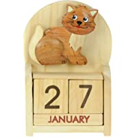 Namesakes Cute Cat Desk Calendar - Fun farm Animal Ornament – Everlasting Gift - Perpetual Advent with wooden Month Blocks & Date - Christmas Stocking filler for children – Size 10.5 x 7 x 3.5cm