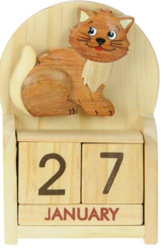 Gatto : legno calendario perpetuo: tradizionale a mano Idee Regalo di Natale: Dimensioni 10,5 x 7 x 3,5 centimetri: Compra un insolito e stravagante regalo di Natale alternativo per un calendario dell'Avvento: unico e nuovo regalino: Regali per tutte le età! regalo per sempre
