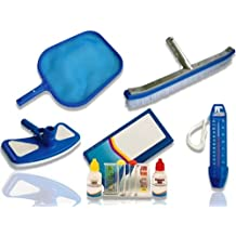 kit entretien piscine - Brosse avec cadre en aluminium renforcé et épuisette, kit analyse de l'eau, balai aspiration, thermomètre - jardiboutique