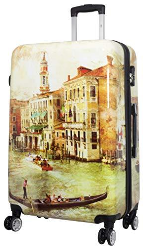 Trendyshop365 Hartschale Reise-Koffer Bedruckt mit Motiv Venedig 78 Zentimeter 107 Liter 4 Räder Bunt Zahlenschloss -