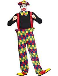 Hooped Clown Costume Circus Fancy Dress Unisex Outfit