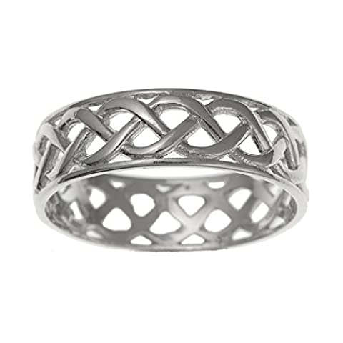 MENS Irish Open Celtic Knot Wedding Band Ring - 7MM Wide - 925 Sterling Silver - Irish Celtic Jewellery - Supplied in Free Gift Box/Gift Bag - Sizes