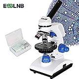 ESSLNB Microscopio Professionale 40X-1000X Microscopio Ottico con Coassiale Grossolano/ Bene Manopola di Messa a Fuoco Metallo Oculare (WF10X/25X) Vetrini per Microscopio LED Lampada