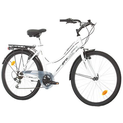 Multibrand Distribution Probike 26 City Zoll Fahrrad 6-Gang Urbane Cityräder for Heren, Damen, Unisex Schwarz 455mm (Weiß)