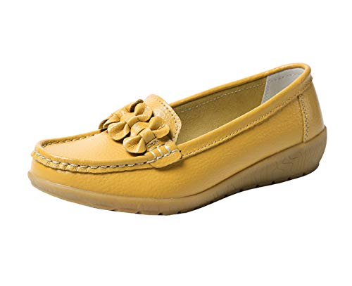 Zapatos de Cuero Cuña para Mujer Mocassins Planos Loafers Antideslizante Otoño Invierno Casual Derby,Amarillo,EU...
